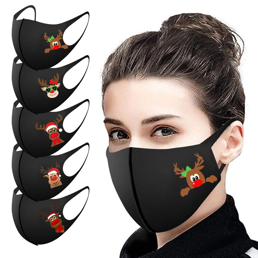 5/10/25PCS Adult Christmas Face Mask Washable Mouth Fabric Facial Mask For Protection Reusable Santa Earloop Mouth Caps Маска