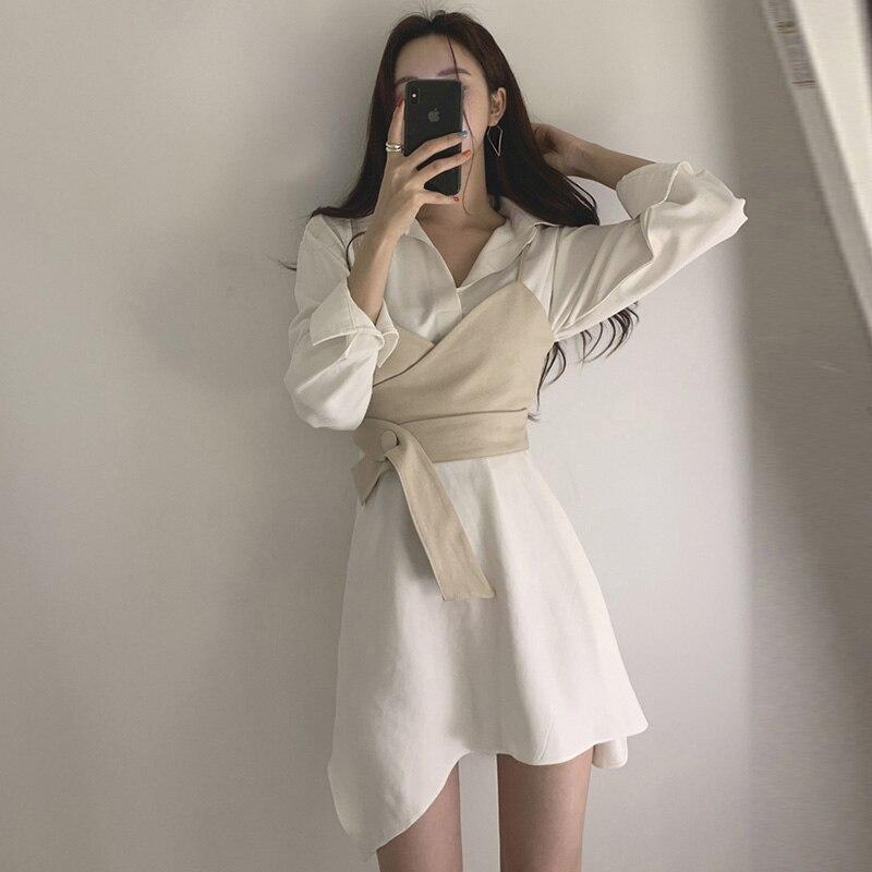 Summer Women's Shirt Dress Empire Sashes Patchwork A-line button Turn-down Collar Mini Shirt Dress Sexy Female Dress Women PL051