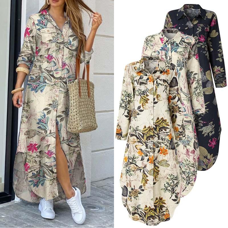 VONDA Maxi Long Dress 2020 Women Vintage Printed Long Sleeve Shirt Dresses Plus Size Bohemian Vestidos Elegant Beach Sundress 3