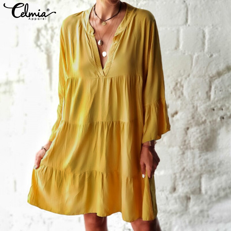 Celmia Bohemian Women Sexy Mini Dress Ladies V neck Flare Sleeve Casual Loose Pleated Long Shirt Vestidos Plus Size Sundress 5XL