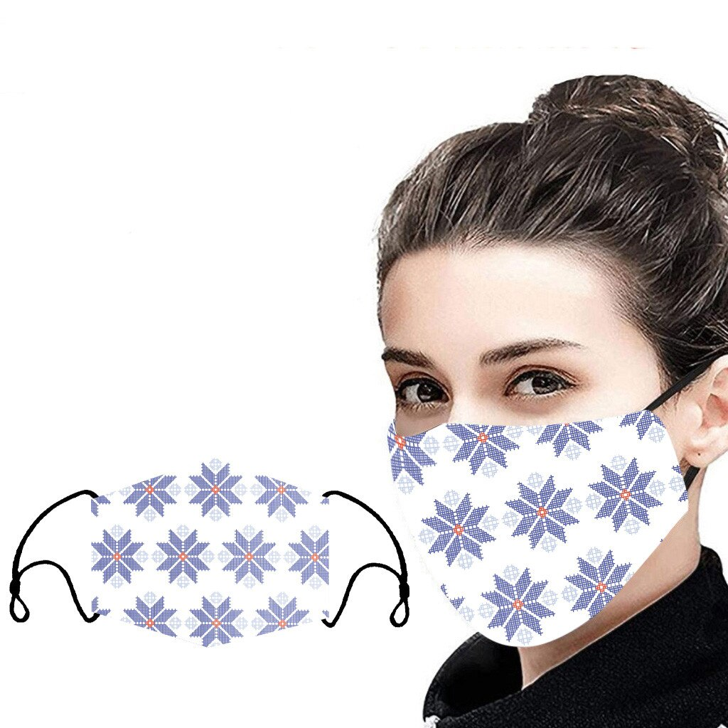 Unisex Christmas Face Mask Windbreak Mouth Cover Outdoor Riding Quick-drying deer print Fabric face Reusable mask mascarillas 2