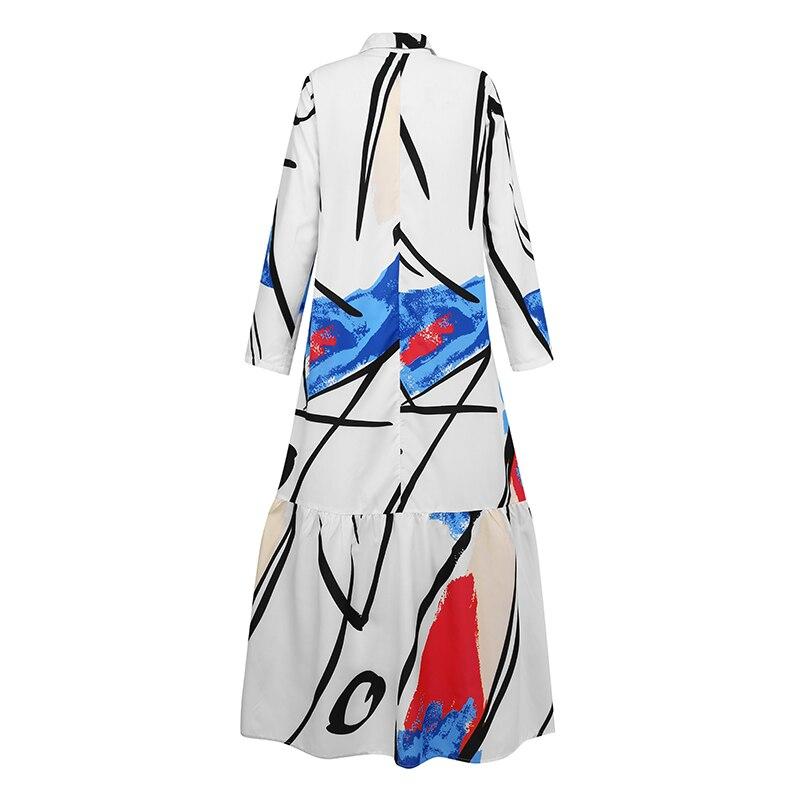 Celmia Ruffled Long Dress Fashion Women Graffiti Printed Dress Kaftan Lapel Shirt Dress Long Sleeve Maxi Dresses Autumn Vestido 2