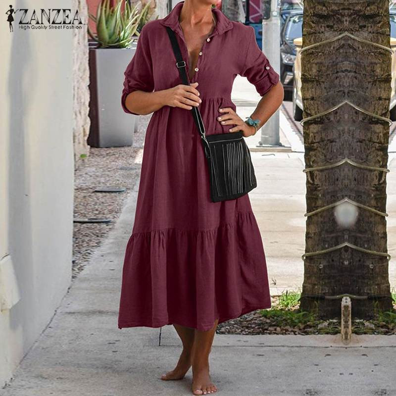 ZANZEA Women Lapel Neck Cotton Linen Dress Autumn Casual Solid Work OL Sundress Robe Femme Long Sleeve Shirt Vestido Ladies 5XL 3