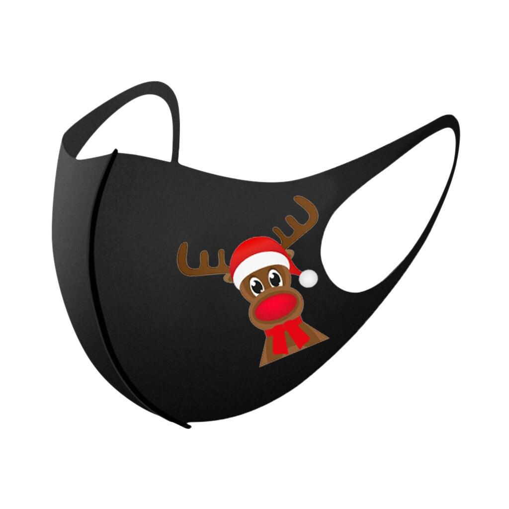 5/10/25PCS Adult Christmas Face Mask Washable Mouth Fabric Facial Mask For Protection Reusable Santa Earloop Mouth Caps Маска 3