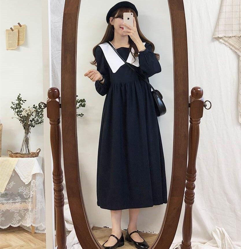 new Plus size Autumn Dress Girls Boho Party Female Vintage Dress plaid buttons Long Sleeve Women Dresses Long shirt Robe Vestido