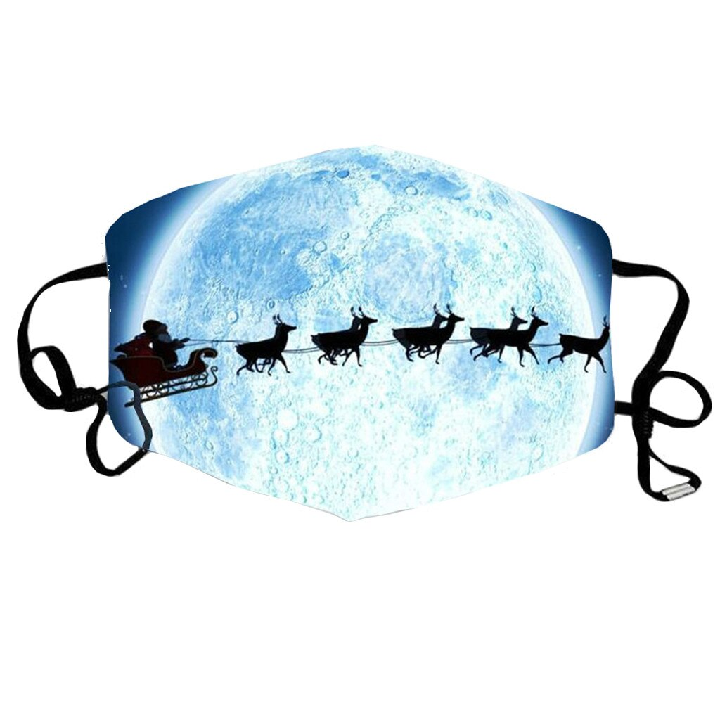 1 PC Christmas Face Mask Printed Reusable Washable Mask Breathable Multi-Purpose Mouth Cover 3