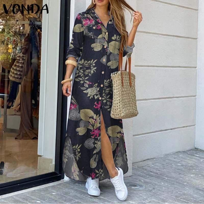 VONDA Maxi Long Dress 2020 Women Vintage Printed Long Sleeve Shirt Dresses Plus Size Bohemian Vestidos Elegant Beach Sundress 2
