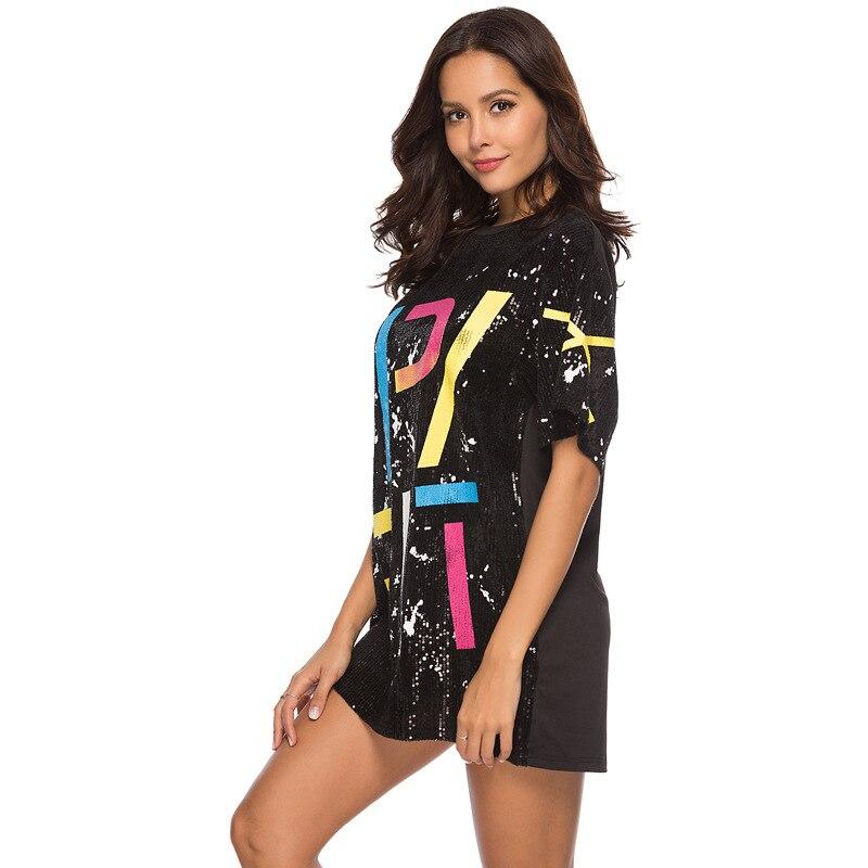 Woman Club Dresses 2019 Sequin T Shirt Dress Plus Size Loose Tee Shirts Glitter Tops Summer Dress Sequin tops 1