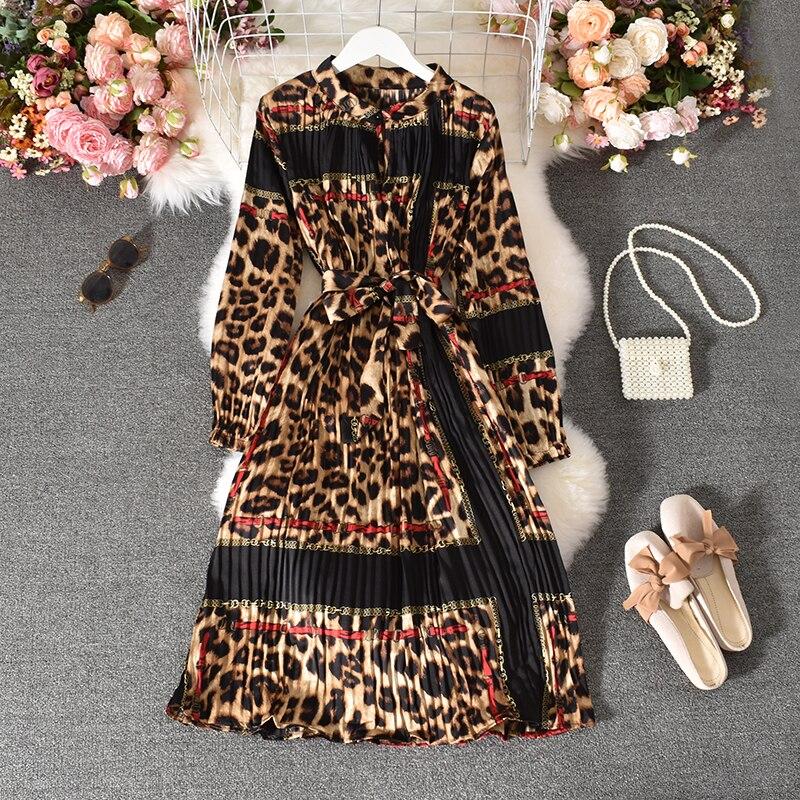 Spring Autumn Women's Pleated Dress Long-sleeved Shirt Dress Korean Retro Ethnic Style Long-sleeved Dress Plus Size Dress GD518 2