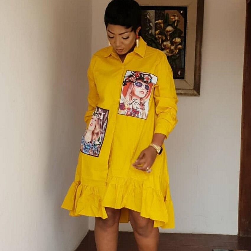 Women Spring Autumn Fashion Green Yellow Pleated Dress 2020 Casual Cute Beading Shirt Dresses Long Sleeve Plus Size Vestidos 2