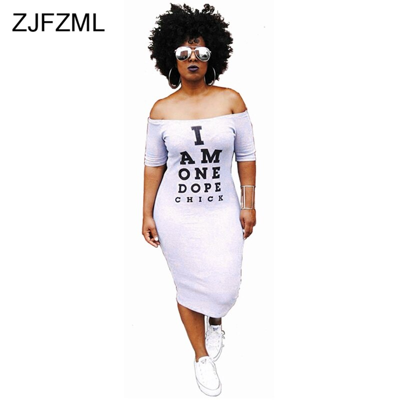 ZJFZML Off Shoulder Sexy T Shirt Dress Women Letter Print Slash Neck Bandage Dress Summer Short Sleeve Backless Mid-Calf Dress 2