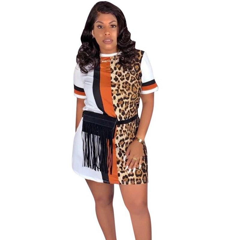 Patchwork Leopard Print Dress for Women Streetwear Short Sleeve Casual Summer Dress 2020 Beach Mini Loose T Shirt Dress Vestidos 1