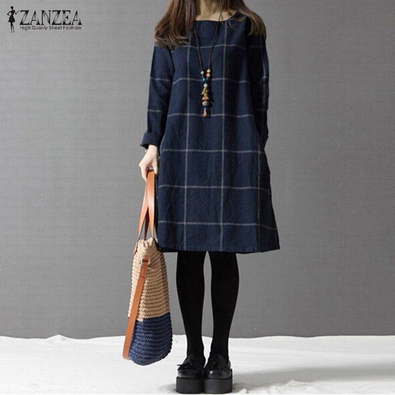 Winter Dress ZANZEA Fashion Plaid Women Long Sleeve Cotton Linen Dresses Casual Shirt Knee-length Vestidos Robe Mujer Plus Size 1