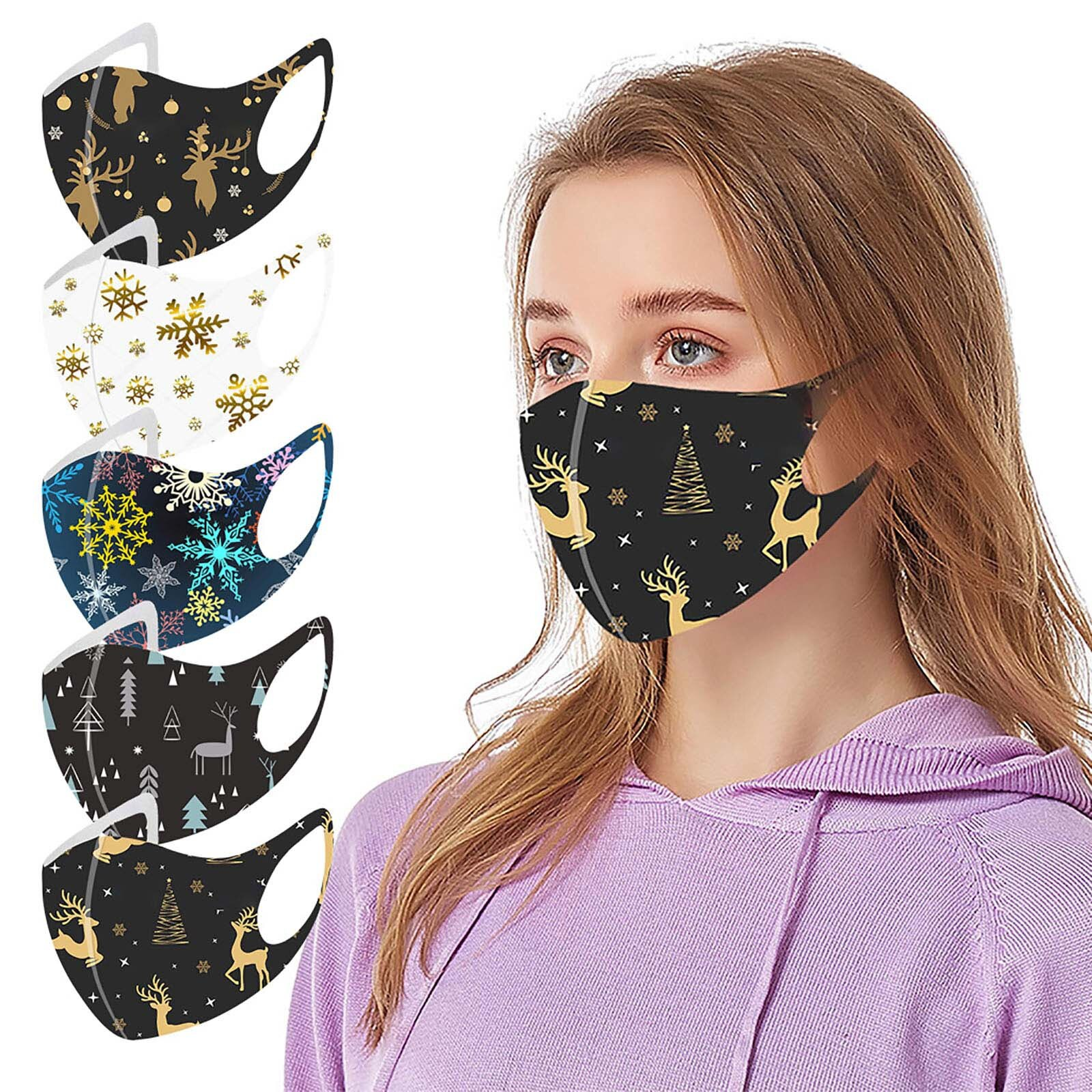 Adult Christmas Face Mask Snow Elk Print Washable Mouth Cotton Mask For Protection Reusable Santa Earloop Mouth Caps mascarillas