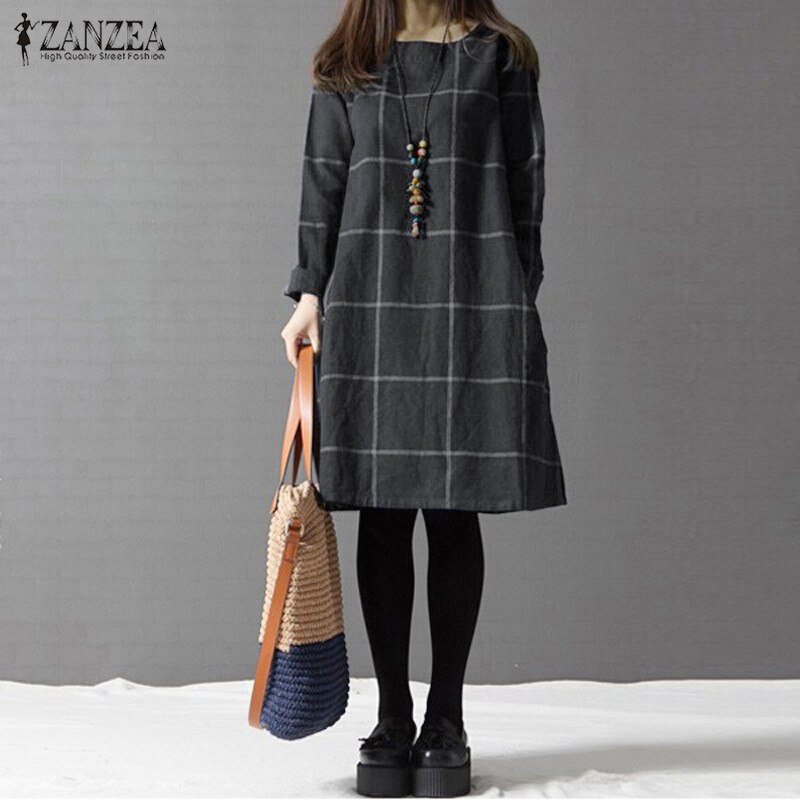 Winter Dress ZANZEA Fashion Plaid Women Long Sleeve Cotton Linen Dresses Casual Shirt Knee-length Vestidos Robe Mujer Plus Size 2