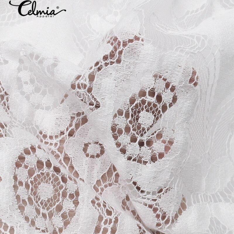 2020 Bohemian Lace Women Summer Dress Celmia Fashion Vintagr Sundress Female Casual V Neck Mini Vestidos Party Shirt Robe S-5XL 4
