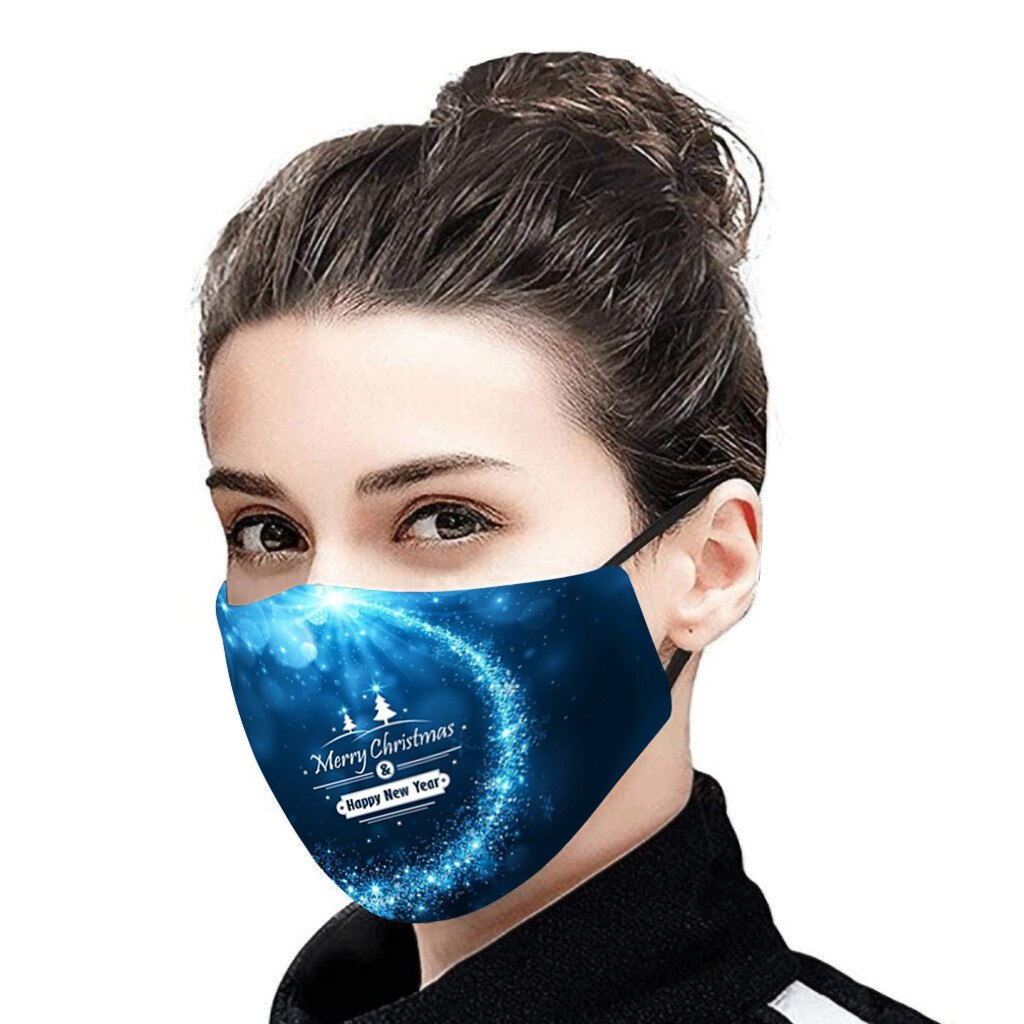 Christmas Face Mask Activated Carbon Outdoor Fabric Facial Mask Christmas Print Mouth Cap Washable Christmas Wear mascarillas 3