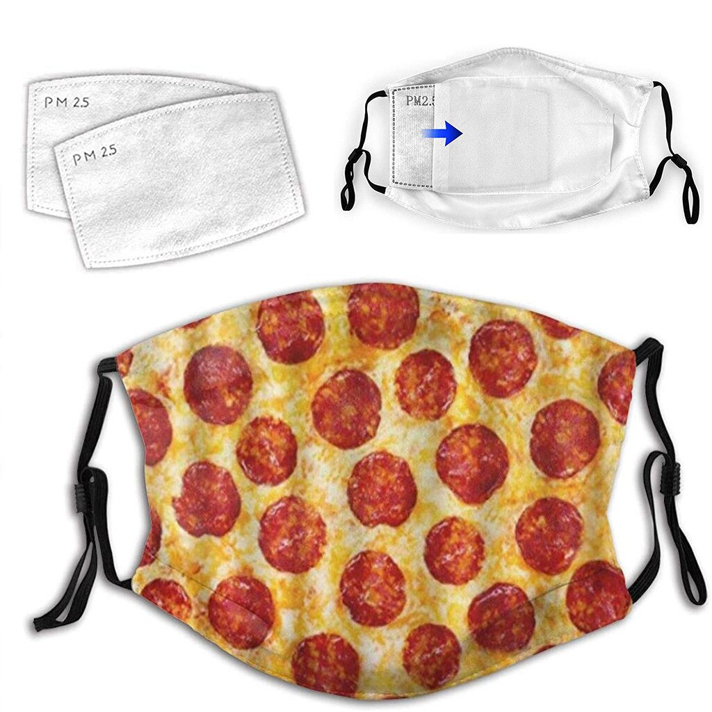 Christmas Face Mask Adult Washable 3D Pizza Food Print Mouth Face Cover Reusable Mask Mascarillas Breathable Face Mask Máscara 2