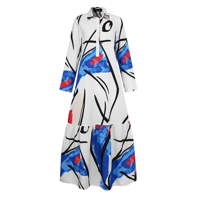 Celmia Ruffled Long Dress Fashion Women Graffiti Printed Dress Kaftan Lapel Shirt Dress Long Sleeve Maxi Dresses Autumn Vestido 1
