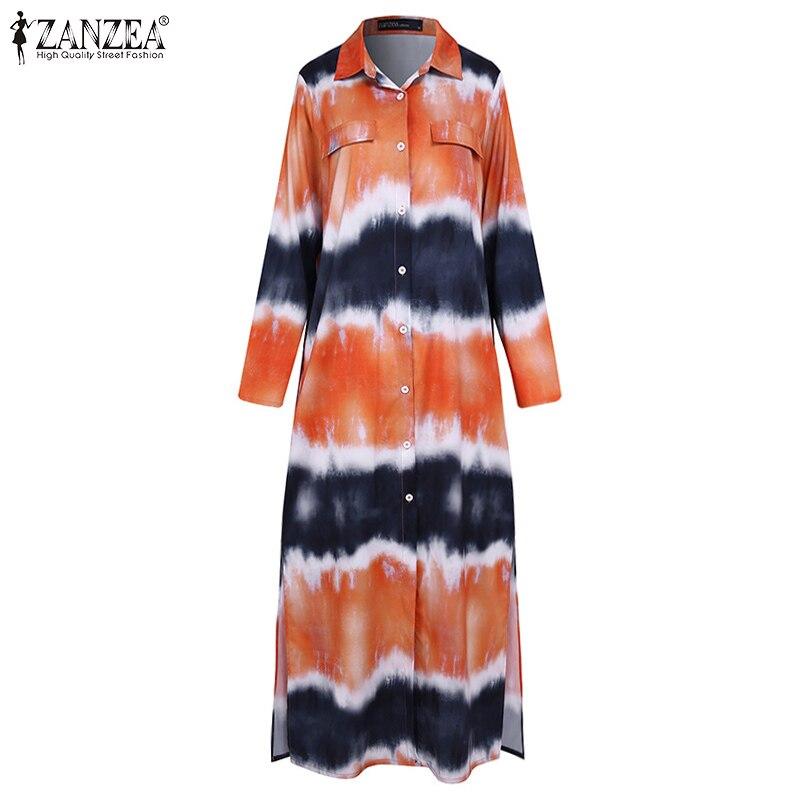ZANZEA Women Long Sleeve Dress Casual Pockets Lapel Neck Shirt Dresses Baggy Button Split Robe Plus Size Bohemian Vestidos S-5XL 4