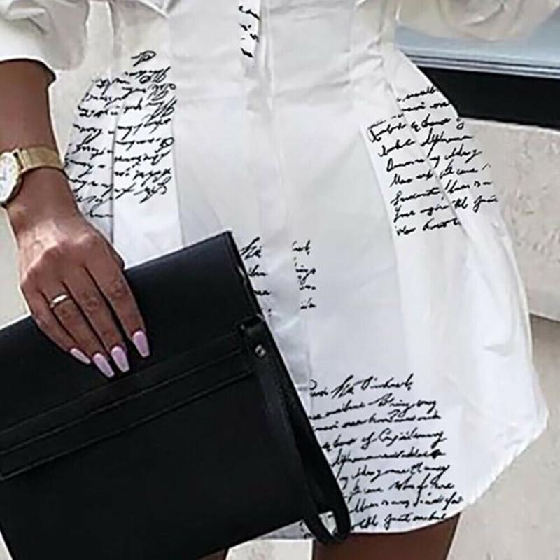 Women Letter Printed Shirt Dress 2020 Autumn Party Dress Lady Office Long Sleeve Shirt Turn-down Collar Slim Waist Button 2