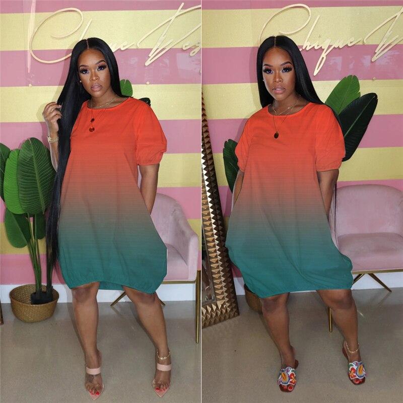 Summer Dresses for Women Short Sleeve Loose Casual Dress Streetwear Gradient Tracksuit T Shirt Dress Bulk Wholesale Dropshipping 3