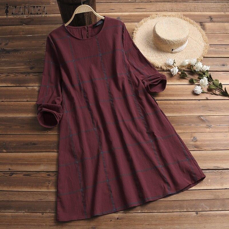 Winter Dress ZANZEA Fashion Plaid Women Long Sleeve Cotton Linen Dresses Casual Shirt Knee-length Vestidos Robe Mujer Plus Size 4