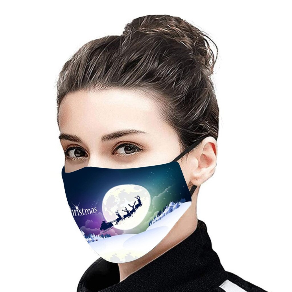 Christmas Face Mask Activated Carbon Outdoor Fabric Facial Mask Christmas Print Mouth Cap Washable Christmas Wear mascarillas 1