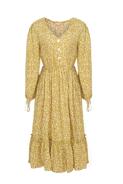 ZITY Vintage Floral Print Maxi Dress Women Boho Long Sleeve V -Neck Lantern Sleeve Long Dress Casual Ruffles Shirt Dresses Robe 4