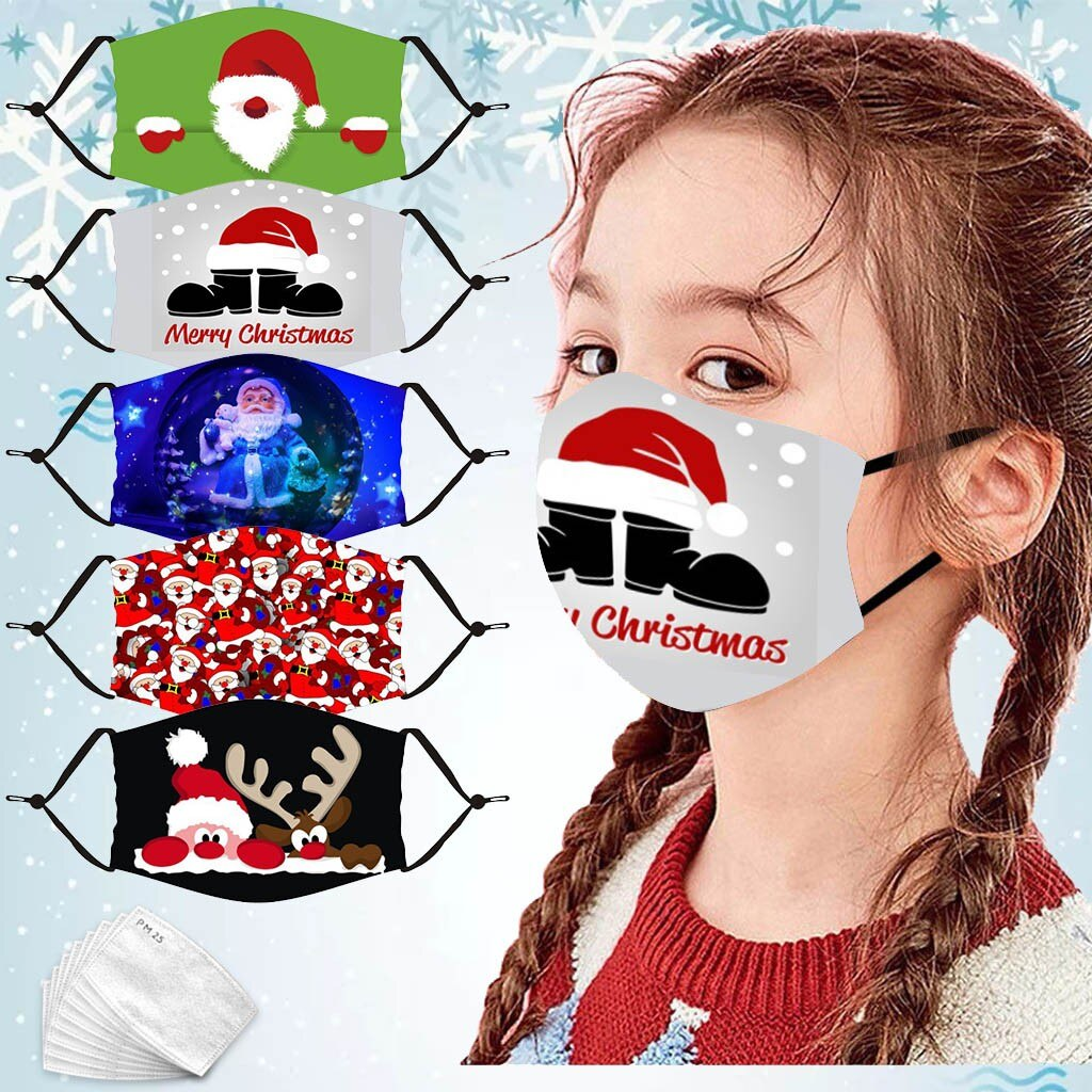Unisex Merry Christmas Face Mask Cute Animal Snowman Santa Claus Printing Mask Adjustable Washable Face Mask Mascara Maszk