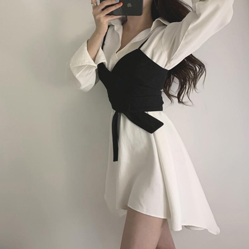 Summer Women's Shirt Dress Empire Sashes Patchwork A-line button Turn-down Collar Mini Shirt Dress Sexy Female Dress Women PL051 2