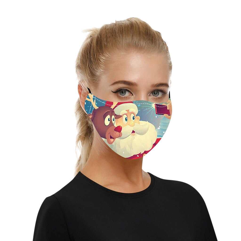 Adult Christmas Face Mask Washable Reusable Mouth-macks Adjustable Dust-Proof Protective Mask Cotton Mouth Cover mascarilla 2