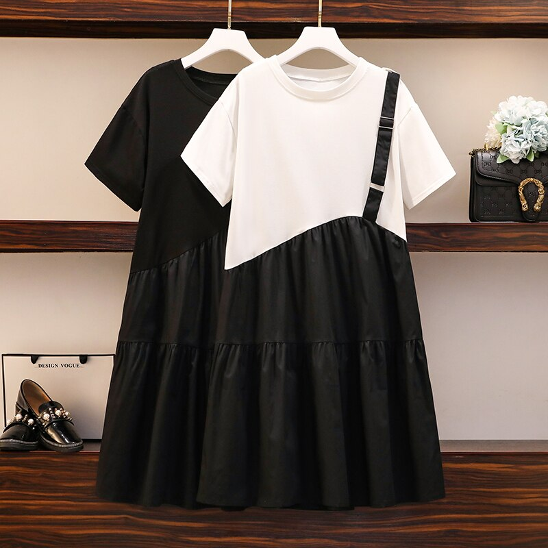 Plus Size Women Casual Dress Summer 2020 Korean Fashion Short Sleeve T Shirt Patchwork Single Strap Loose Ruffle Dresses 5XL 1