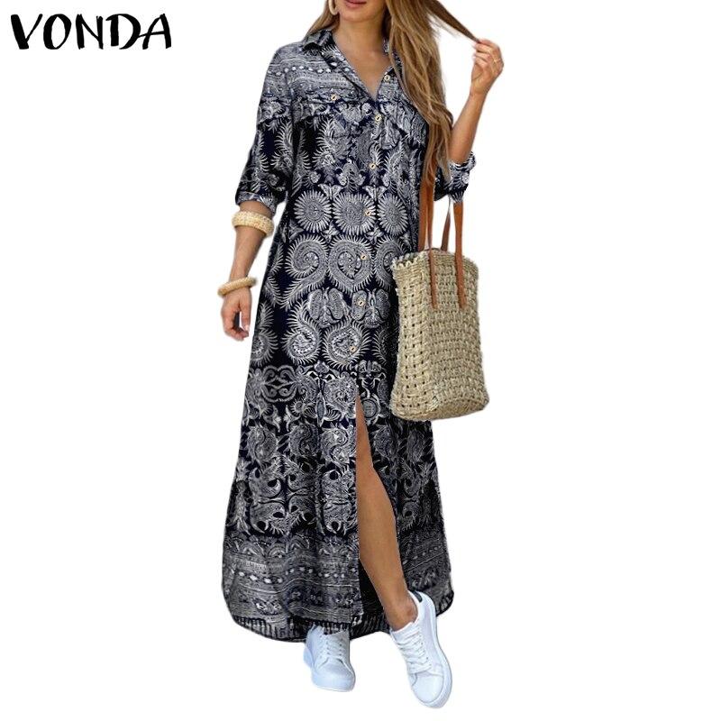 VONDA Women Dress 2020 Summer Vintage Printed Lapel Neck Party Maxi Dress Casual Long Sleeve Shirt Dresses Bohemian Vestidos 5XL 2