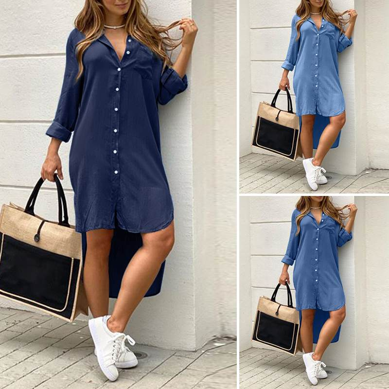 Loose Party Robe Asymmetric Shirt Dress VONDA Women Lapel Dress Autumn Fashion Solid Demin Dress Summer Sundress Bohemian Dress 1
