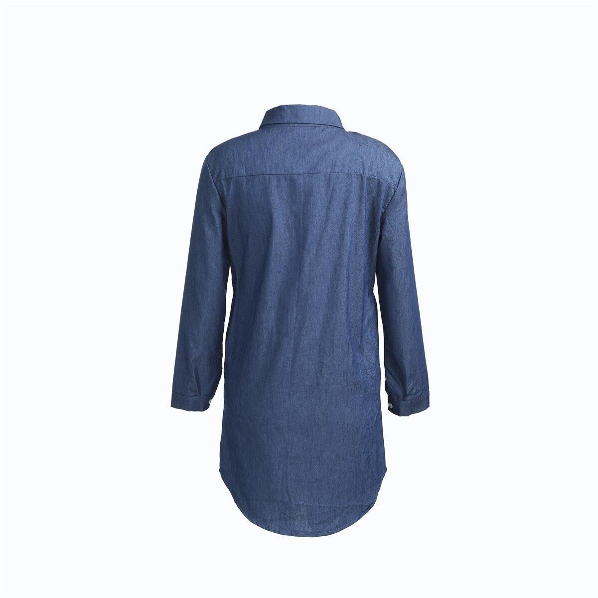 Women Denim Dresses Autumn Fashion Turn Down Collar Mini Dress Lapel Long Tops Shirt Ladies Long Sleeve Holiday Mini Dress S-2XL 3