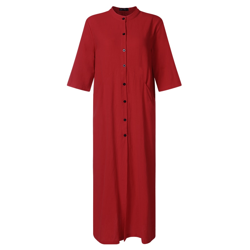 ZANZEA Women Long Maxi Dress Mandarin Collar Long Shirt Dresses Long Sleeve Cotton Linen Vestido Kaftan Button Up Robe Plus Size 4