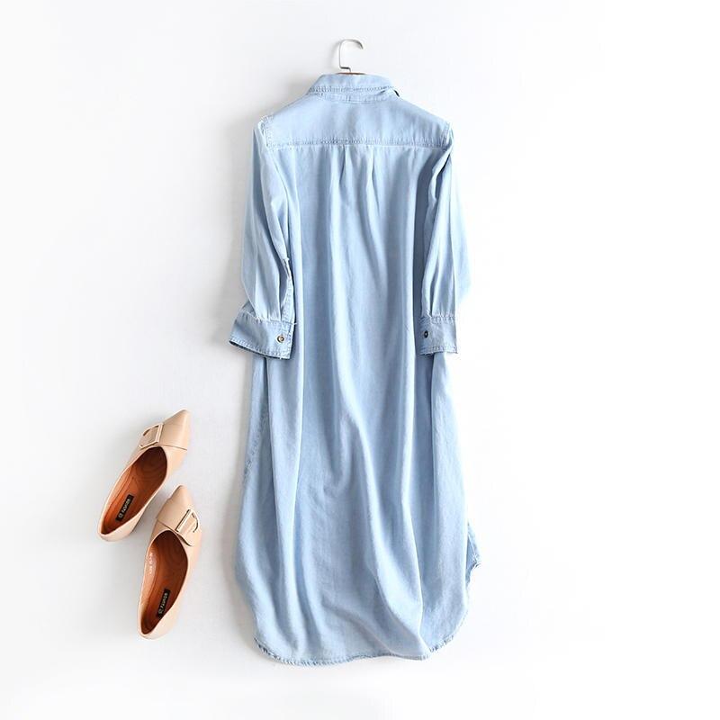 Oversized Jeans Shirt Dress Women Clothes Vestidos Casual Solid Denim Dress Female Elegant Vintage Shirt Dress Robe Femme Q2640 2