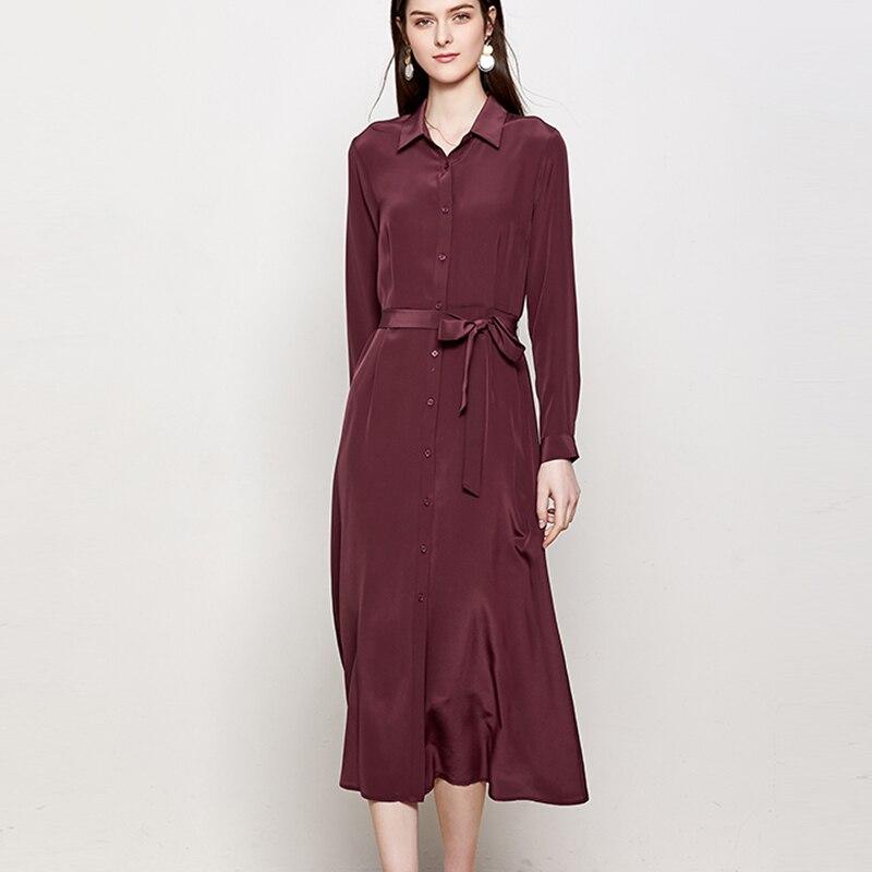 SuyaDream Woman Solid Long Silk Dress 100%Silk Elegant Sash Office Lady Shirt Dress Women 2020 Summer Work Blouse Dresses 2