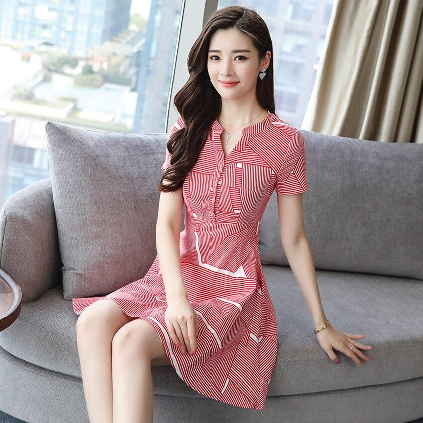 Huti Wjwyl Summer Red Striped Mini Sundress 2020 Bodycon Elegant Women Club Midi Dresses Party Short Shirt Dress Beach Vestidos 3