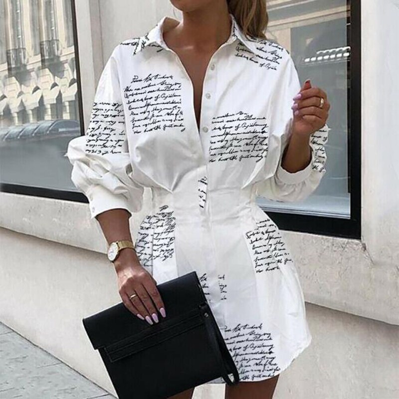 Women Letter Printed Shirt Dress 2020 Autumn Party Dress Lady Office Long Sleeve Shirt Turn-down Collar Slim Waist Button 1