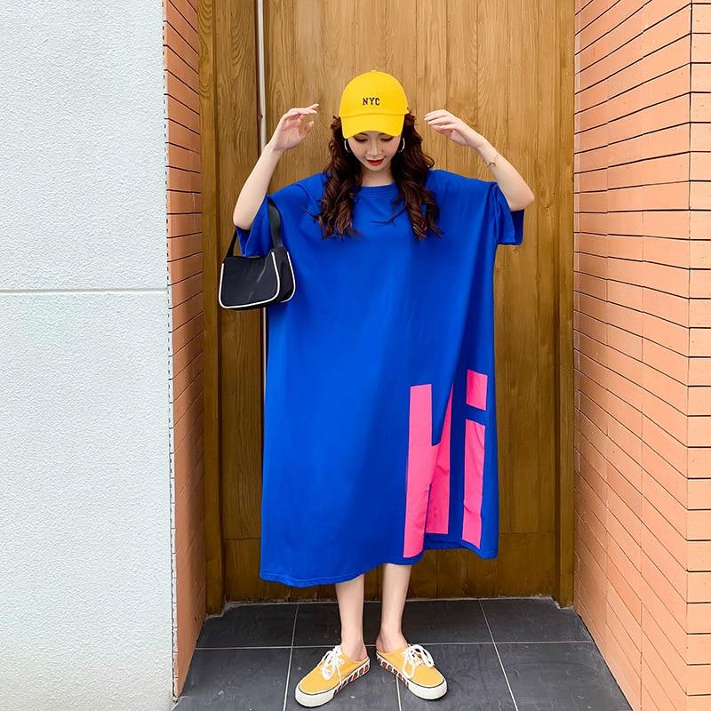 Home Oversized T Shirt Dress Women Summer 2020 Casual Plus Size Loose 'Hi ' Midi Dresses Short Sleeve H Cut Long Tee Shirt 4