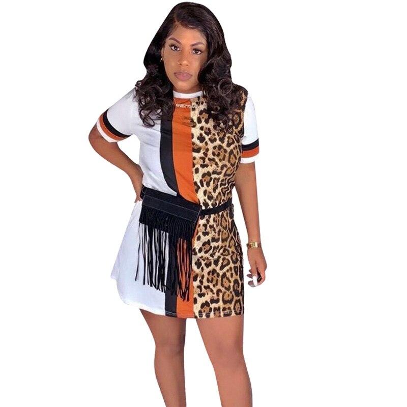 Patchwork Leopard Print Dress for Women Streetwear Short Sleeve Casual Summer Dress 2020 Beach Mini Loose T Shirt Dress Vestidos