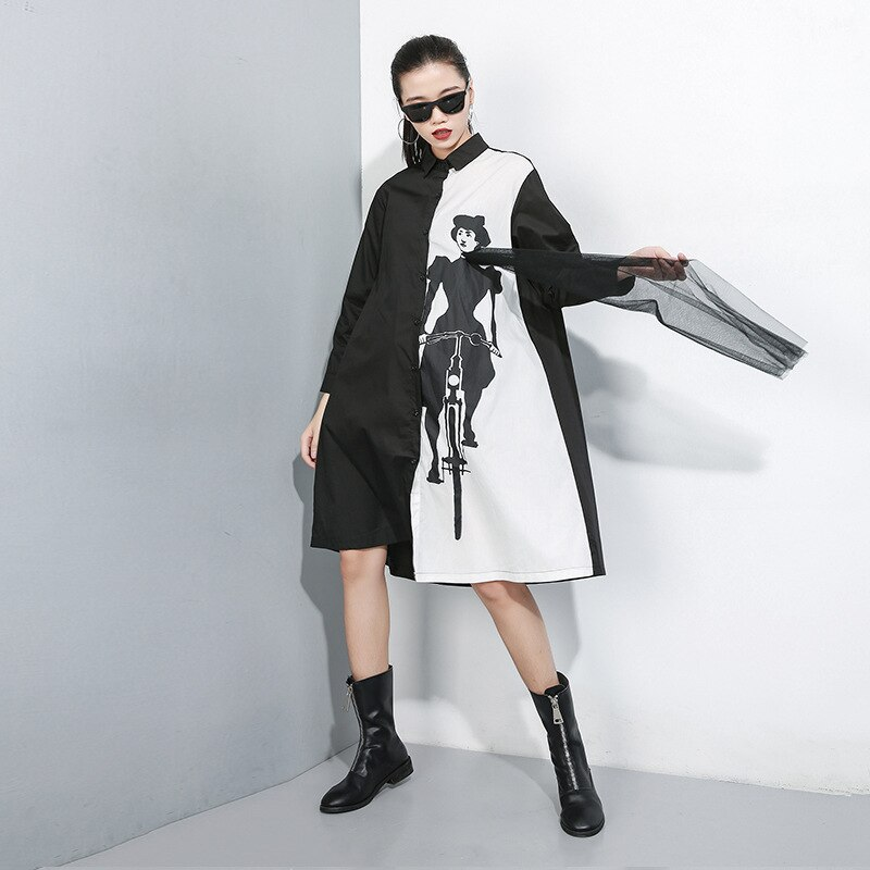 New 2019 Women Hit Color Women Shirt Dress Black White Shirt Patchwork Cartoon Printed Female Plus Size Straight Dress Robe J224 3