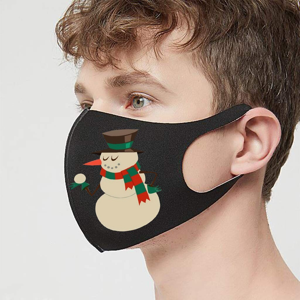3pc Adult Christmas Face Mask Washable Mouth Fabric Facial Mask For Protection Reusable Santa Earloop Mouth Caps Masque Adulte 4