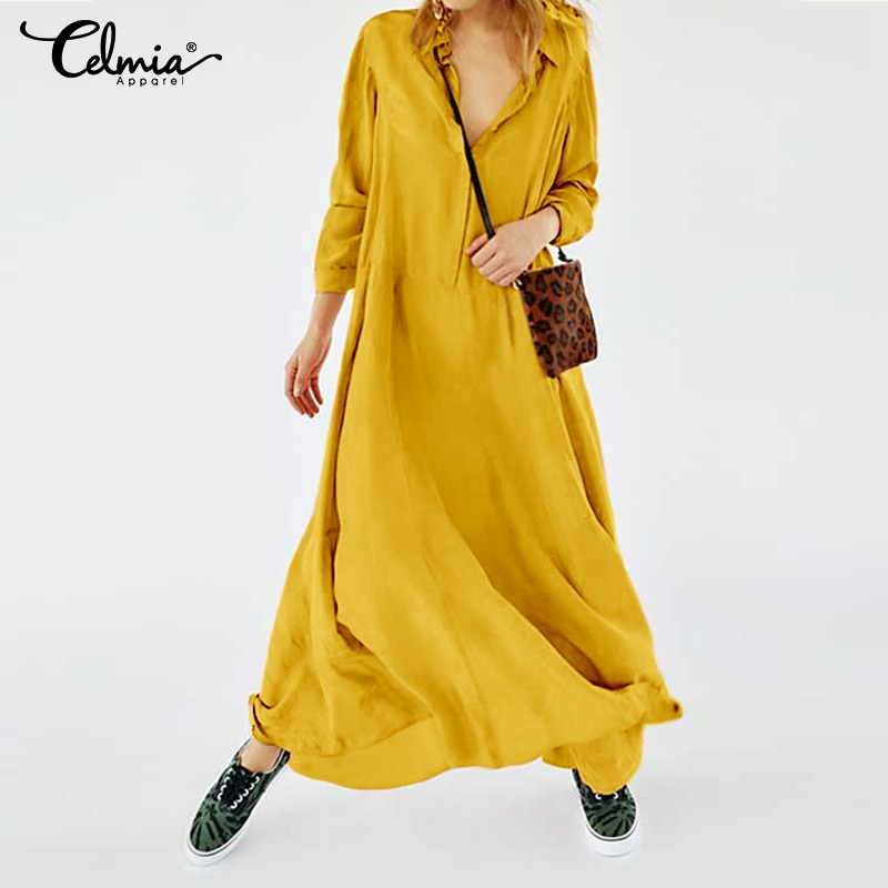 Plus Size Dress 2020 New Celmia Vintage Women Casual Long Maxi Dress Long Sleeve Loose Buttons Pleated Shirt Vestidos Party Robe 3