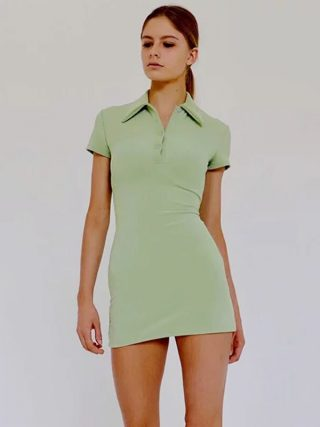 Women Mini Polo Shirt Dress Fitted Mini Dress