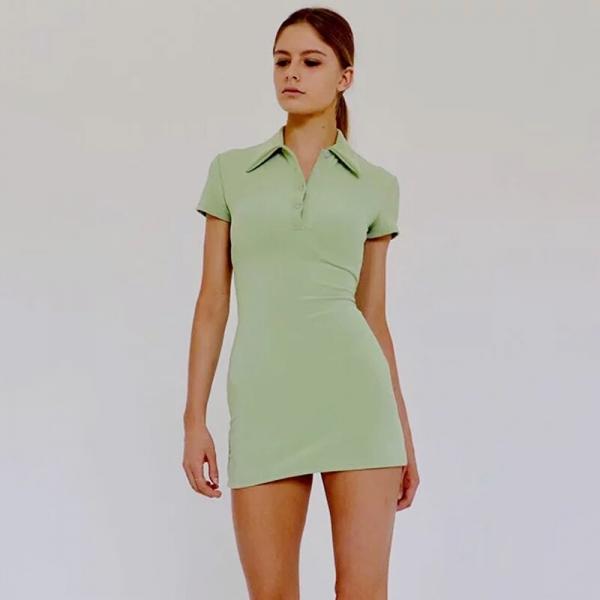 Women Mini Polo Shirt Dress Fitted Mini Dress
