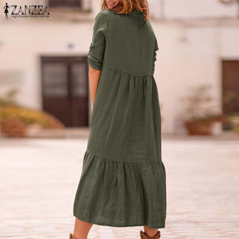 ZANZEA Women Lapel Neck Cotton Linen Dress Autumn Casual Solid Work OL Sundress Robe Femme Long Sleeve Shirt Vestido Ladies 5XL 1