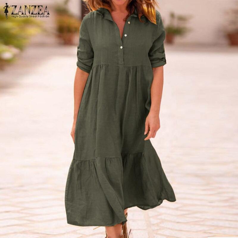 ZANZEA Women Lapel Neck Cotton Linen Dress Autumn Casual Solid Work OL Sundress Robe Femme Long Sleeve Shirt Vestido Ladies 5XL
